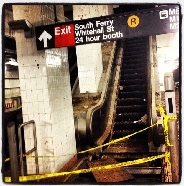 Damage sustained by the South Ferry station on the New York City Subway flooded during Hurricane Sandy, November 7, 2012